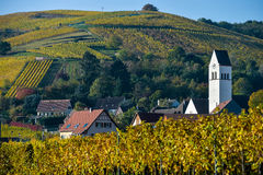 Katzenthal in the vineyard of Alsace Stock Photos
