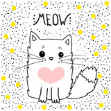 Katzenvektormiauen, T-Shirt Druck ich liebe dich Valentinsgruß ` s Tag, Tierzeichnung, Kinderillustration für Schulbücher und meh Stockfotos