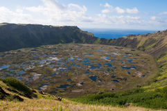 Kau van Rano vulkaan Stock Foto