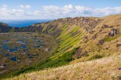 Kau van Rano vulkaan, het eiland van Pasen (Chili) Stock Afbeelding