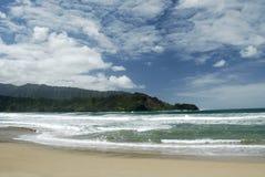 Kauai Beach. Landscape of a Kauai, HI beach with an interesting cloud-filled sky Stock Photos