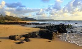 Kauai Beach Morning. Just after the sunrise on the beach in Lihue, Kauai Stock Photography