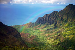 Kauai Coastline Fron an Aerial View With Rainbow Royalty Free Stock Photo