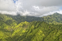 Kauai hawaii island mountains aerial view Royalty Free Stock Images