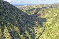 Kauai hawaii island mountains aerial view Stock Photography