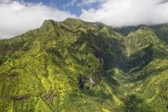 Kauai hawaii island mountains aerial view Royalty Free Stock Images