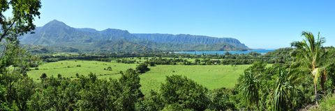 Kauai Hawaii mountain and bay at Hanalei Stock Images