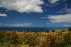 Kauai Land Sea And Sky. General vegetation to the ocean and blue sky of the horizon in Kauai, Hawaii (USA Stock Image