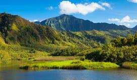 Kauai Mountains. Lush mountains at the North coast of Kauai Island, Hawaii Stock Image