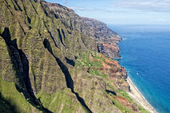 Kauai napali coast aerial view Stock Photography
