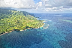 Kauai napali coast aerial view Stock Photo