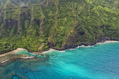 Kauai napali coast aerial view Royalty Free Stock Photo