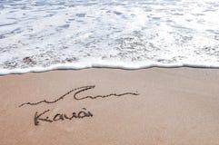 Kauai-Sandmitteilung Stockfoto