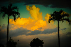 Kauai Sunseti, hawaianska öar Royaltyfri Foto