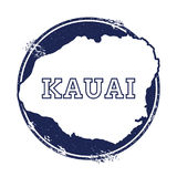 Kauai vector map. Grunge rubber stamp with the name and map of island, vector illustration. Can be used as insignia, logotype, label, sticker or badge Stock Photo