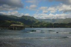 Kauai View. View of ocean and mountains from beach at Kauai, Hawaii (USA Royalty Free Stock Photo