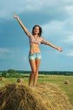 kauci dziewczyny traw Fotografia Royalty Free