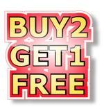 Kauf 2 erhalten 1 frei Stockfotografie