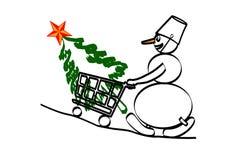 Kauf eines Tannenbaums im Shop stockfotografie