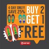 Kauf 2 erhalten 1 freie Turnschuh-Werbekampagne Stockfotografie