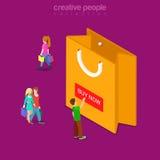 Kauf fügen jetzt flachem isometrischem Vektor 3d der Warenkorbknopf-Einkaufstasche hinzu Lizenzfreies Stockbild