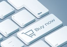 Kauf-jetzt Schlüssel - Tastatur mit Illustration des Konzeptes 3D lizenzfreie abbildung