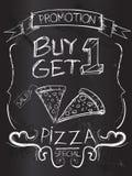 Kauf man erhalten eine Pizza auf Tafel lizenzfreie abbildung