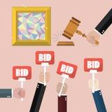 Kaufen, Malerei von der Auktion verkaufend Stockfotos