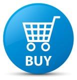 Kaufen Sie Cyanblau runden Knopf Stockbilder