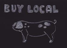 Kaufen Sie lokales Zeichen mit einem Schwein. Lizenzfreies Stockfoto