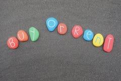 Kaufen Sie oder mieten Sie, Geschäftszweifel mit mehrfarbigem Steindesign Stockbild
