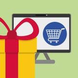 Kaufen Sie online über weißem Hintergrund, Computerillustration Lizenzfreie Stockfotos