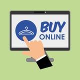 Kaufen Sie online über weißem Hintergrund, Computerillustration Lizenzfreie Stockfotografie