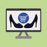 Kaufen Sie online über weißem Hintergrund, Computerillustration Lizenzfreie Stockbilder