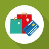 Kaufen Sie online über weißem Hintergrund, Einkaufstaschedesign Lizenzfreie Stockbilder