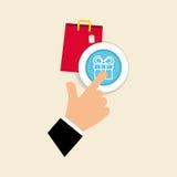 Kaufen Sie online über weißem Hintergrund, Einkaufstaschedesign Lizenzfreie Stockfotos