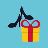 Kaufen Sie online über weißem Hintergrund, Geschenkdesign Lizenzfreie Stockfotos