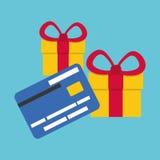 Kaufen Sie online über weißem Hintergrund, Geschenkdesign Stockfotografie