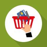 Kaufen Sie online über weißem Hintergrund, Korbdesign Lizenzfreies Stockfoto