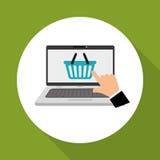 Kaufen Sie online über weißem Hintergrund, Laptopdesign Lizenzfreies Stockbild