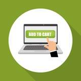 Kaufen Sie online über weißem Hintergrund, Laptopdesign Stockfotos