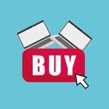 Kaufen Sie online über weißem Hintergrund, Laptopdesign Lizenzfreie Stockbilder
