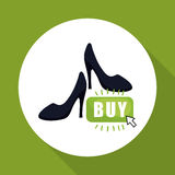 Kaufen Sie online über weißem Hintergrund, Modeeinkaufen Stockbilder