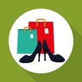 Kaufen Sie online über weißem Hintergrund, Modeeinkaufen Lizenzfreie Stockfotografie
