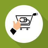 Kaufen Sie online über weißem Hintergrund, Warenkorbdesign Lizenzfreie Stockbilder
