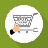 Kaufen Sie online über weißem Hintergrund, Warenkorbdesign Lizenzfreie Stockfotografie