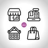 Kaufen und Speicher, die eingestellten Supermarktvektorikonen Flache Illustration Stockfoto
