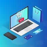 Kaufende blaue isometrische Illustration des on-line-Laptops lizenzfreie abbildung