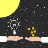 Kaufende Ideen für das Geld, rentabler Ideenkosmos Sun-Hintergrund Stockfoto