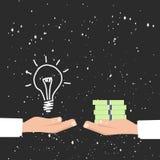 Kaufende Ideen für das Geld, rentabler Ideenkosmoshintergrund Stockfotografie